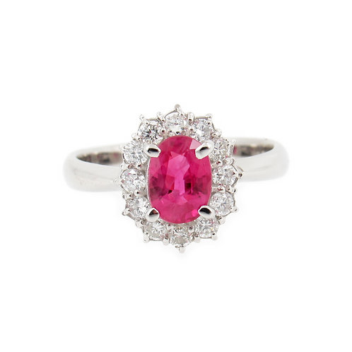 1.38 ctw Ruby and Diamond Halo Ring Front