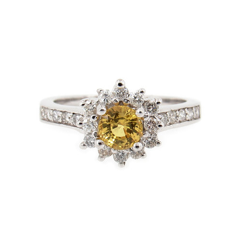 1.05 ctw Yellow Sapphire and Diamond Halo Ring front