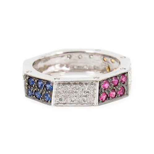 0.82 ctw Diamond and Sapphire Ring Front