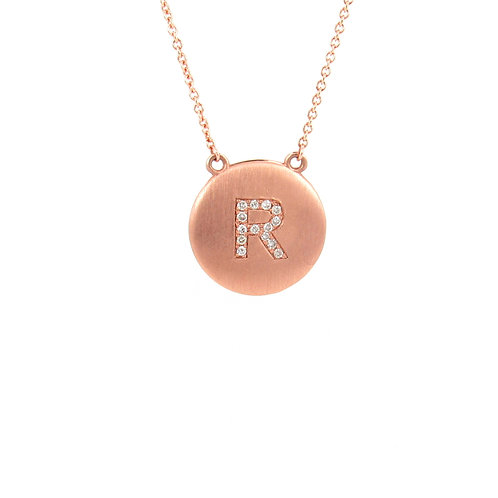 "0.08ctw Diamonds""R"" Initial Rose Gold Necklace Front"