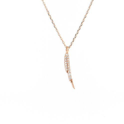 0.11ctw Diamonds Feather Pendant Front