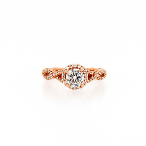 1.00 ctw Diamond Halo and Infinity Rose Gold Engagement Ring Front