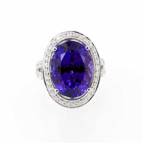 round cut modern halo tanzanite product diamonds oval micro right platinum hand home in ring pave