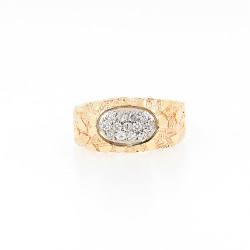 0.20ctw Round Diamonds Gold Nugget Ring