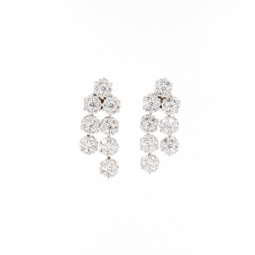3.00ctw Diamonds Flower Drops Earrings Front