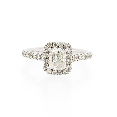 1.19ctw Diamonds Cushion Cut with Halo Engagement Ring Front