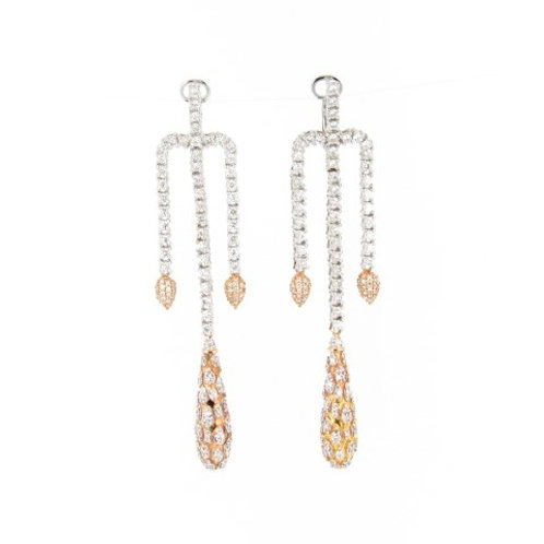 3.40ctw Diamonds 2 Tone Gold Drop Earrings Front
