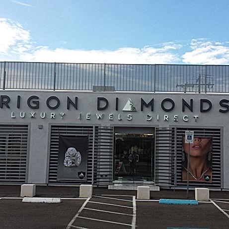 Trigon Diamonds store front, Trigon Diamonds luxury jewels direct la vegas store