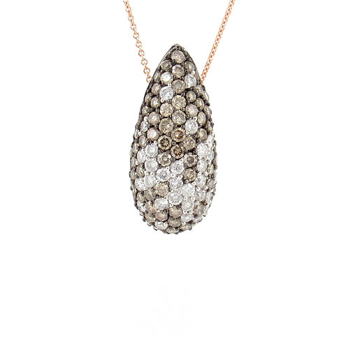 2.40ctw White & Champagne Diamonds Drop Pendant Front