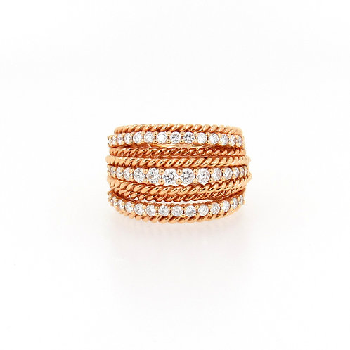 1.62ctw Diamonds Rose Gold Fashion Ring Front