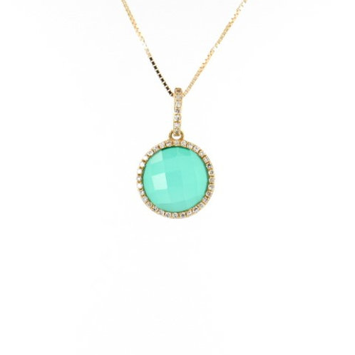 2.55ctw Green Agate & Diamonds Pendant Front