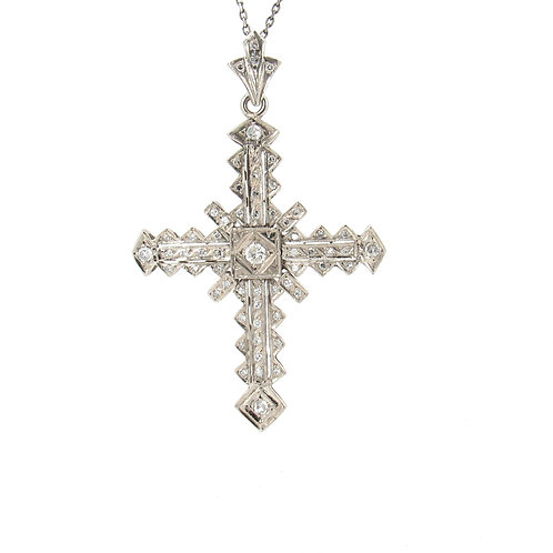 1.00ctw Diamonds Cross Pendant Front