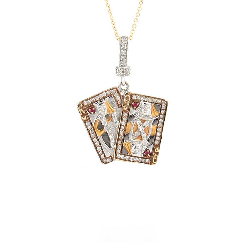 0.36ctw Diamonds & Ruby Playing Cards Pendant Front