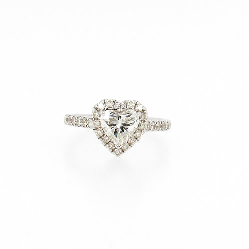 1.57ctw Diamonds Heart Shape with Halo Engagement Ring Front