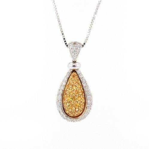 1.25ctw Yellow Sapphires & Diamonds Pendant Front
