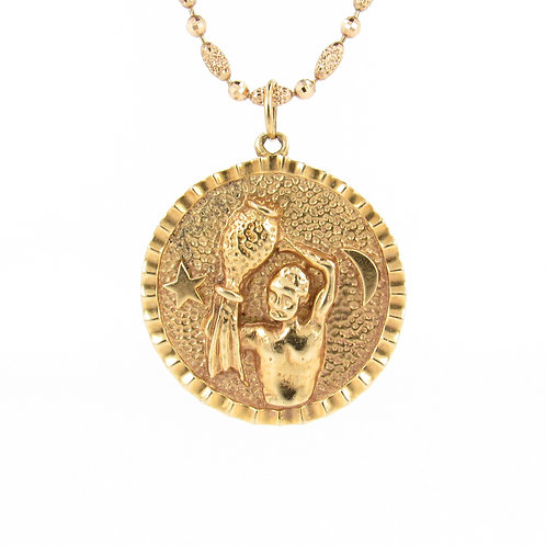Aquarius Zodiac Gold Pendant