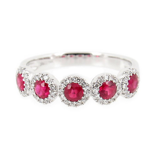 0.86 ctw Ruby and Diamond Ring Front