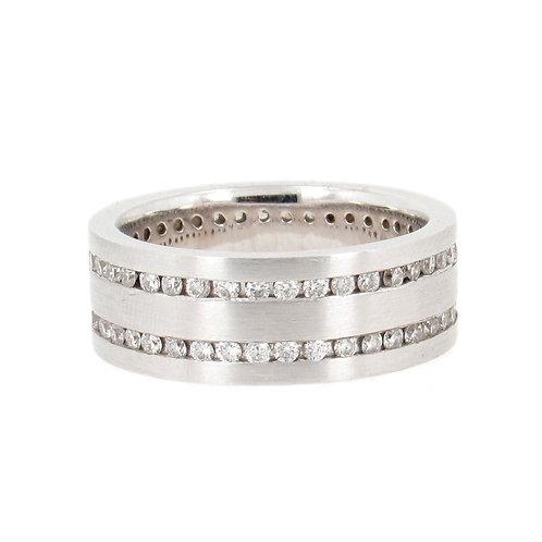 1.17ctw Round Diamonds 2 Eternity Rows Ring