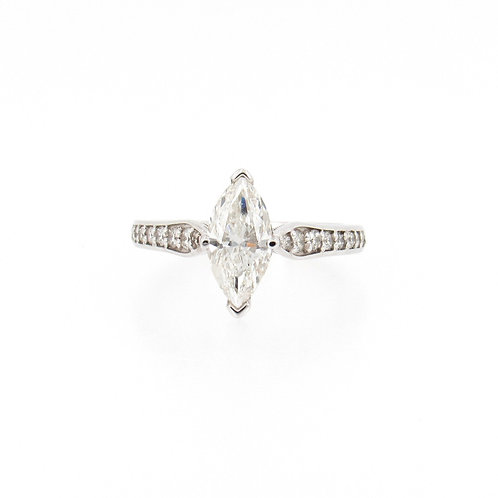 1.67ctw Diamonds Marquise Cut Solitaire Engagement Ring Front
