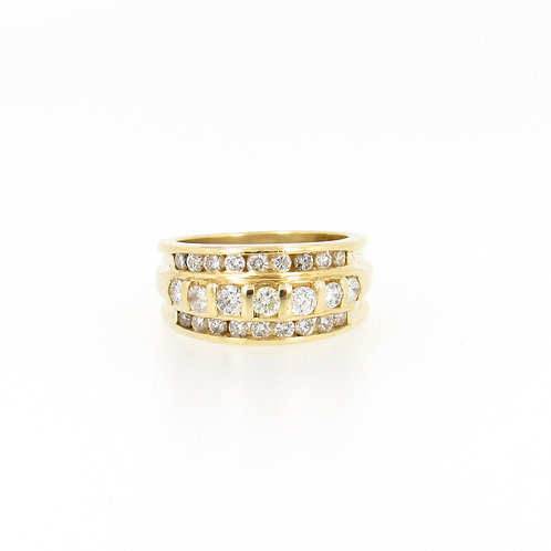 0.75ctw Diamonds 3 Rows Design Ring Front