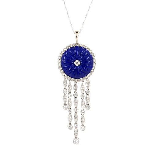 2.15ctw Diamonds & Lapis Platinum Pendant