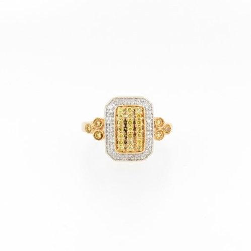 1.00ctw White & Yellow Diamonds Ring Front