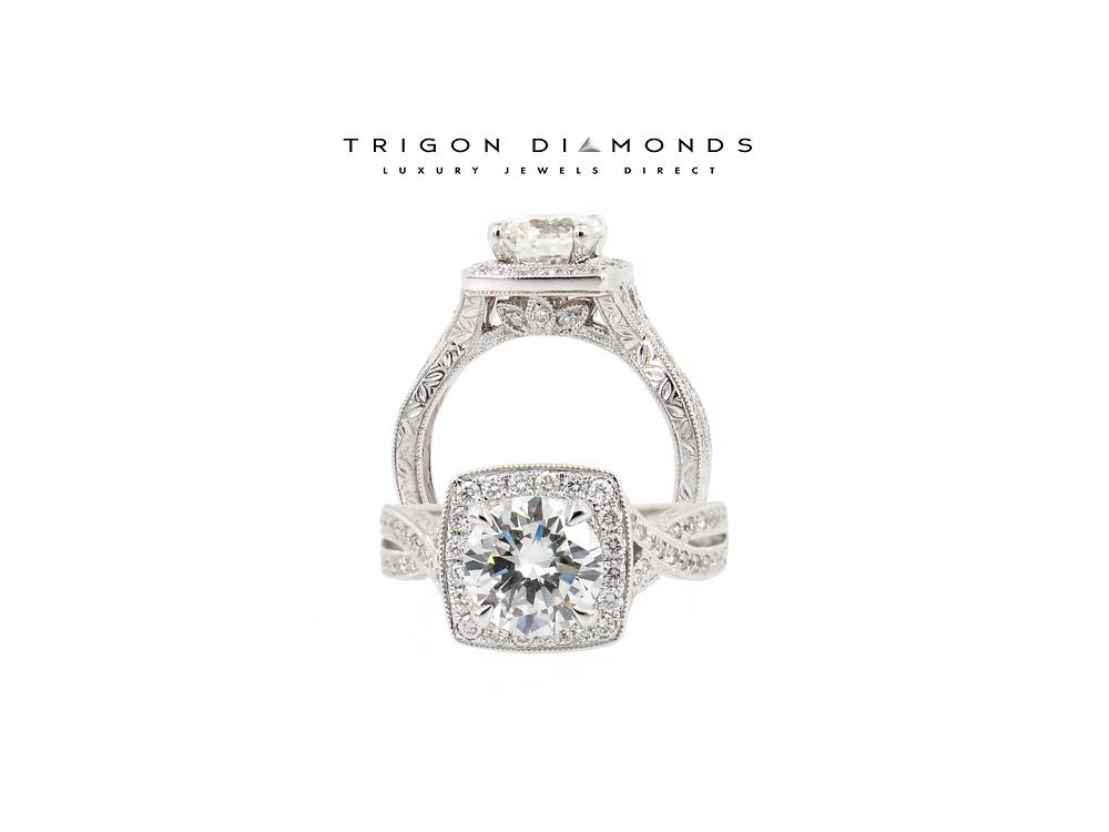 Vintage Style Platinum Engagement Ring by Trigon Diamonds