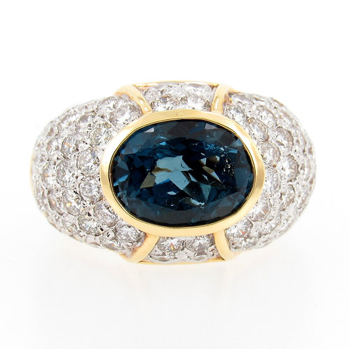 3.82ct Blue Topaz & 4.00ctw Diamonds Ring Front