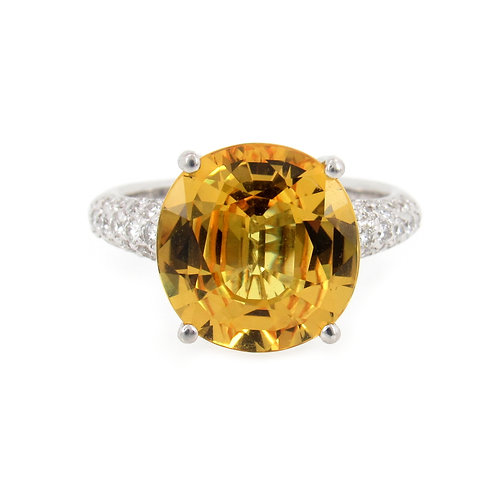 7.71 ctw Yellow Sapphire and Diamond Ring Front