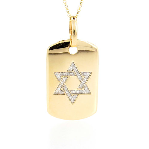0.36ctw Diamonds Star of David Yellow Gold Dog Tag Pendant Front