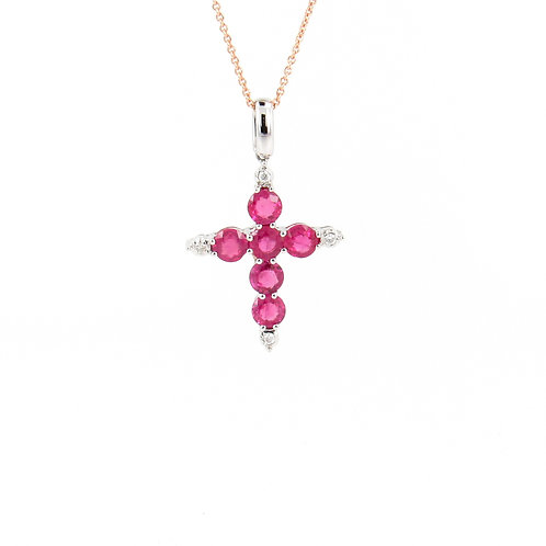 1.60ctw Rubies & Diamonds Cross Pendant Front