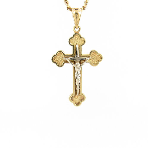 2 Tone Gold Cross Pendant Front