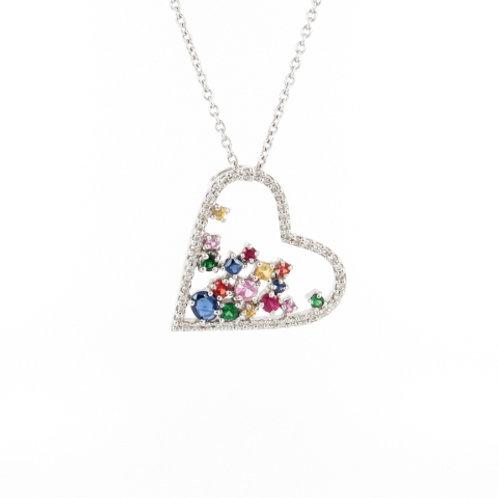 1.04ctw Diamonds & Sapphires Heart Pendant