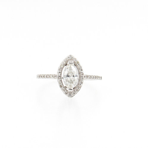 0.70ctw Diamonds Marquise Cut with Halo Engagement Ring Front