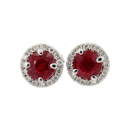 1.66 ctw Ruby and Diamond Earrings Front