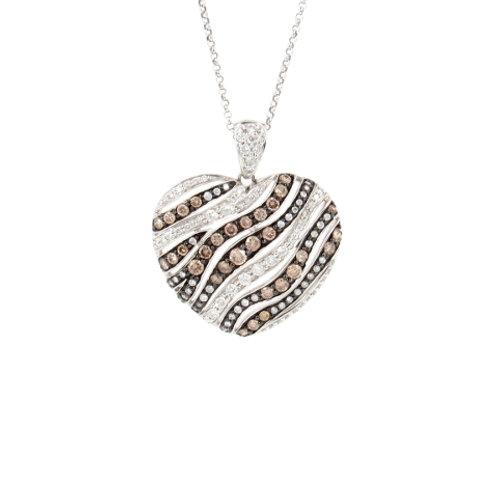 1.54ctw White & Chocolate Diamonds Heart Pendant Front