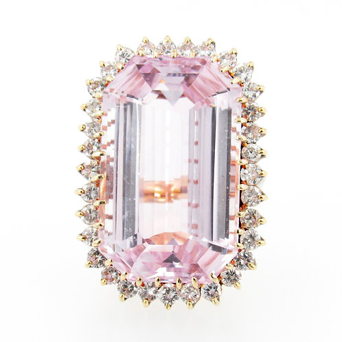 ~100.00ct Kunzite & Diamonds Ring front