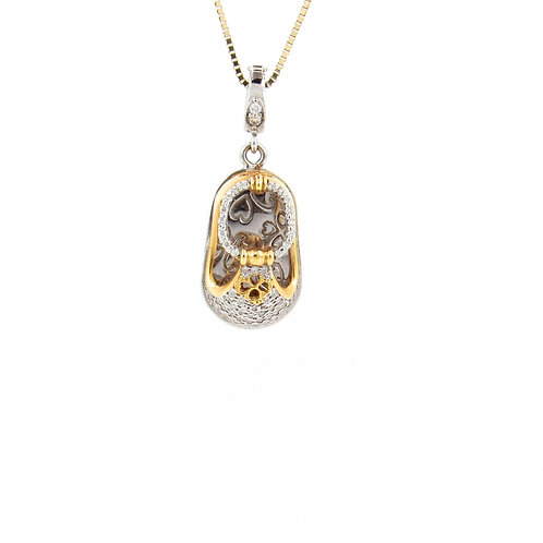 0.35ctw Diamonds Two Tone Gold Baby Shoe Pendant Front