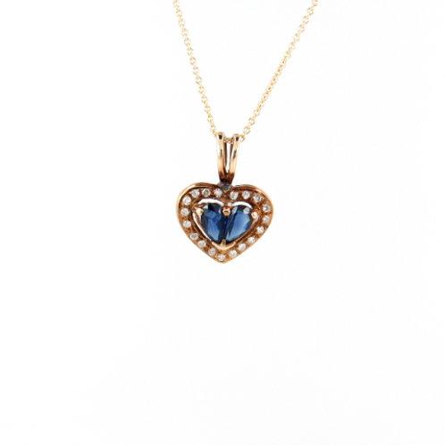 0.50ctw Blue Sapphires & Diamonds Pendant Front