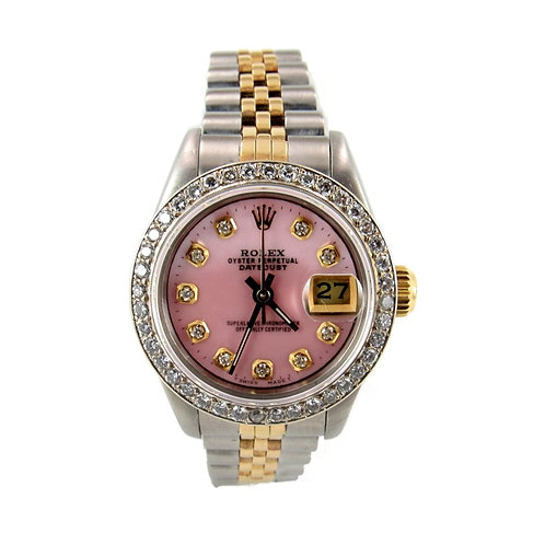 Rolex Date Just Ladies Watch Pink Dial and Diamond Bezel