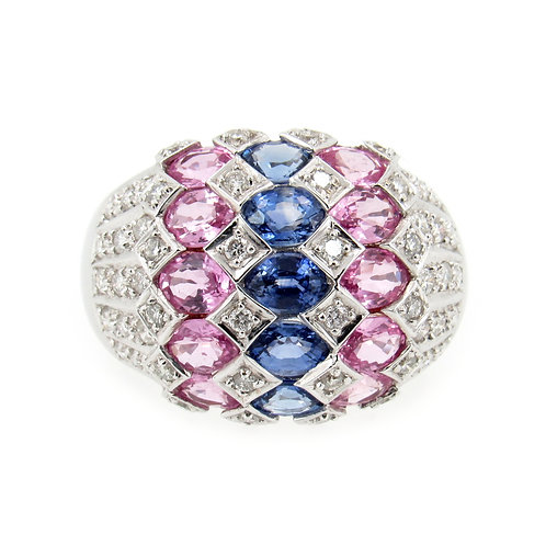 3.88 ctw Sapphire and Diamond Dome Ring Front