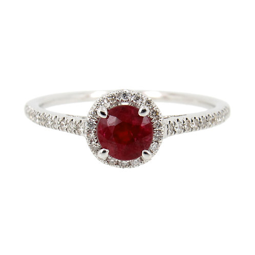 0.76 ctw Ruby and Diamond Halo Ring Front