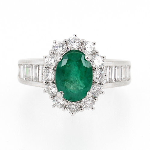 1.59ct Oval Emerald & 1.50ctw Diamonds Ring Front