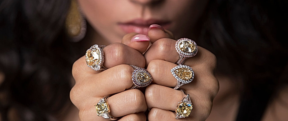 Yellow diamonds rings; a collection of natural yellow diamond engagement ring also known as canary diamond.