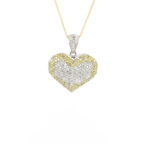 1.00ctw White & Yellow Diamonds Heart Pendant Front
