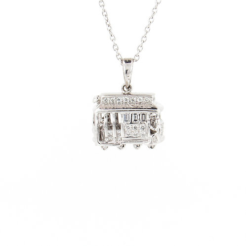 0.65ctw Diamonds Platinum Street Car Pendant Front