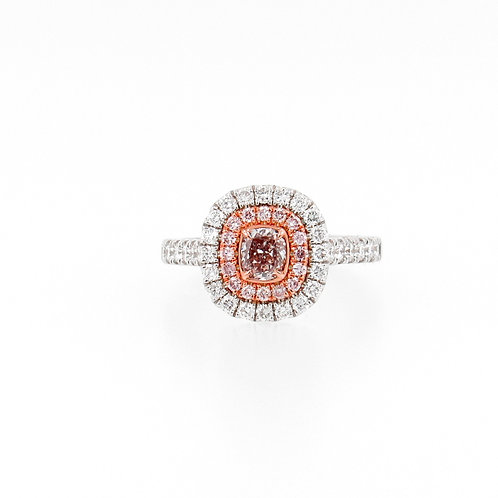1.21ctw Pink and White Diamonds Ring Front 2