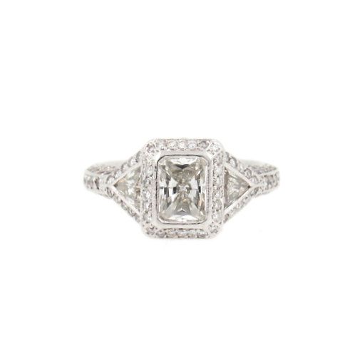 2.60ctw Radiant Cut, Trillion Cut & Round Diamonds Engagement Ring