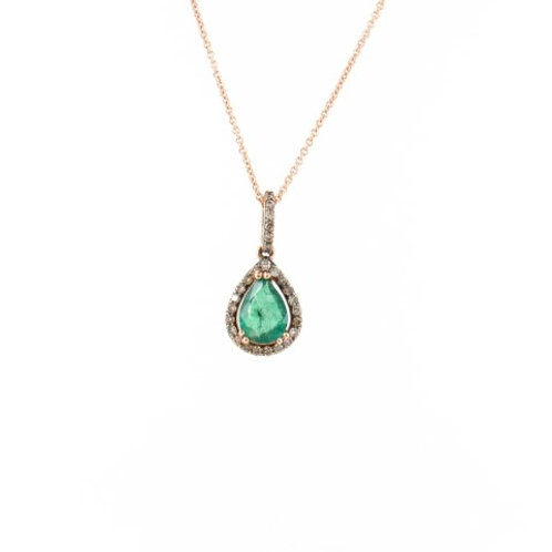 0.94ctw Emerald & Diamonds Pendant Front