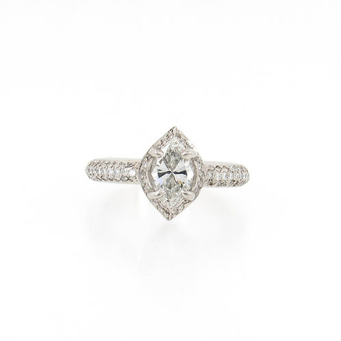 1.48ctw Diamonds Marquise Cut with Pave Halo Engagement Ring Front